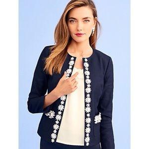 NWOT $249 TALBOTS RSVP navy floral Bead jacket 24W